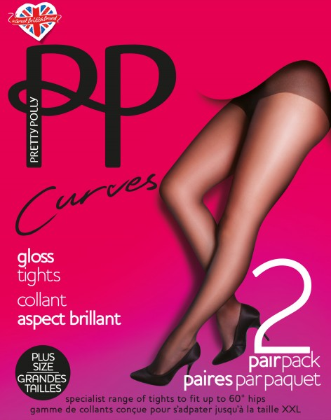 Pretty Polly Curves Glänzende Feinstrumpfhose für Frauen mit weiblichen Rundungen