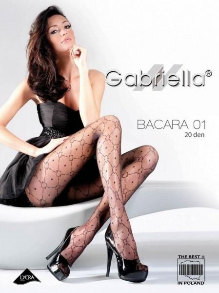 Gabriella Elegante Feinstrumpfhose mit Tupfen- und Rautenmuster Bacara 01, 20 DEN