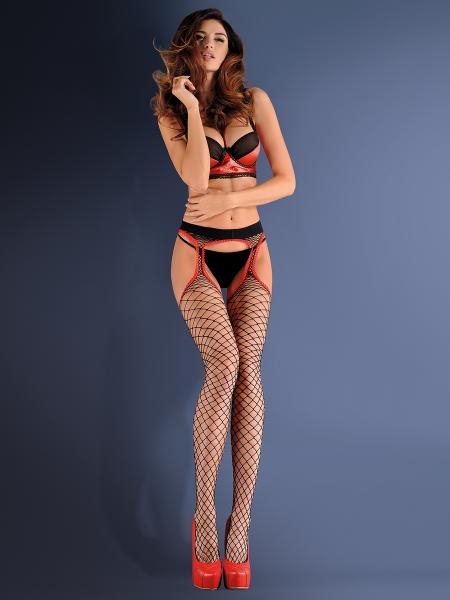 Gabriella Strip Panty - Grobmaschige Netz-Strapsstrumpfhose
