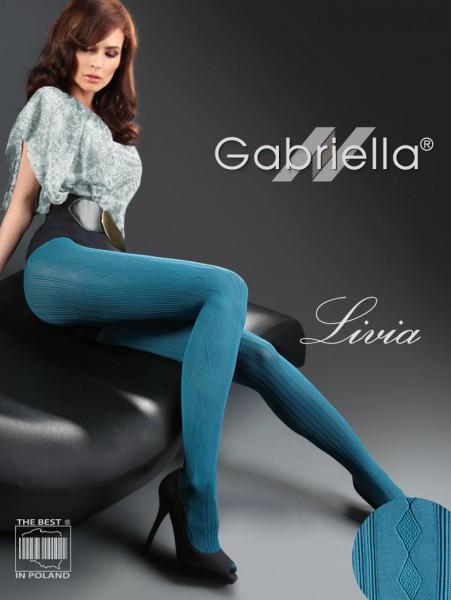 Gabriella Modische Strumpfhose mit Streifen- und Rautenmuster Livia, 60 DEN