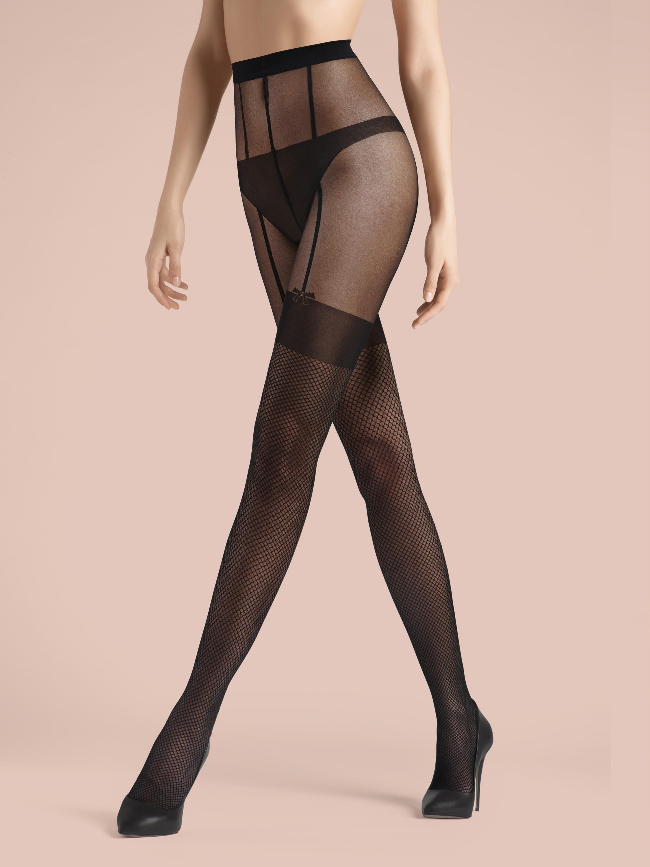 8e47b1b30e3a2 KUNERT de Luxe Claudia Schiffer Legs Bow - Strumpfhose mit Netz- und  Strapsoptik