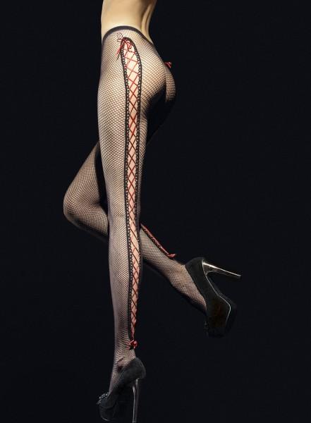 Fiore Invito - Aufregende Netzstrumpfhose mit sinnlichen Aussparungen und rotem Band