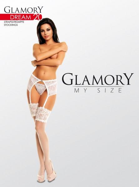 Glamory Dream 20 - Elegante Strapsstrümpfe in Übergrößen mit breitem Spitzenabschluss
