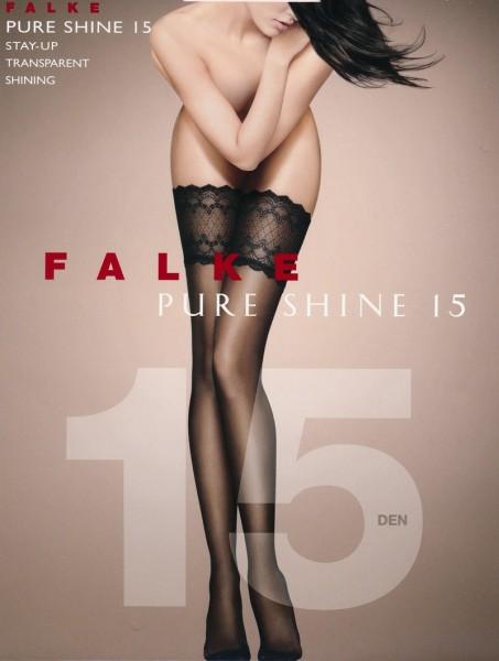 Falke Pure Shine 15 - Elegant glänzende halterlose Strümpfe mit breiter Zierspitze