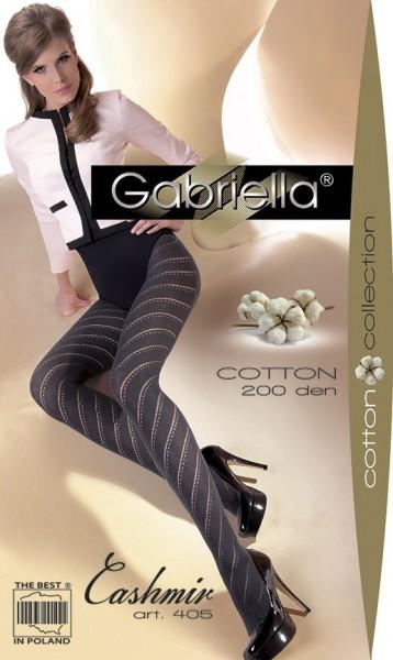 Gabriella Baumwollstrumpfhose mit diagonalen Ringeln Cashmir 405