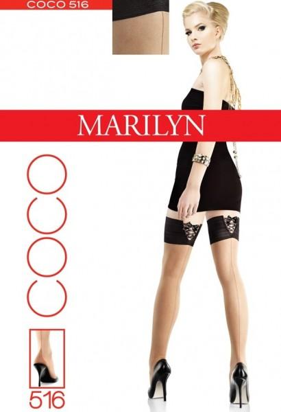 Marilyn Halterlose Struempfe mit verfuehrerischem Zierband und Streifenmuster auf der Rueckseite Coco, 20 DEN