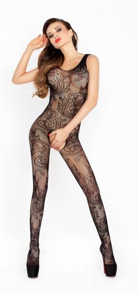 Catsuit Netzmaterial mit Muster im Schritt offen schwarz