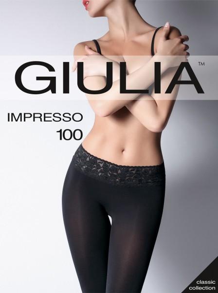 Giulia Impresso 100 - Glatte, blickdichte Feinstrumpfhose mit Spitzenbund