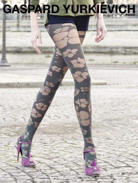 Designerstrumpfhose mit blumigem Muster Totally Fleur von Gaspard Yurkievich und Gerbe