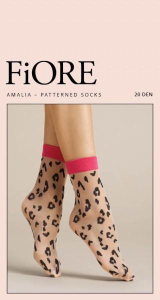Fiore Amalia - Feinsöckchen mit kontrastfarbenem Leopardenmuster