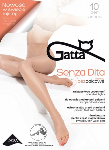 Gatta Senza Dita Toeless - Ultradünne Sommerstrumpfhose mit offener Fußspitze