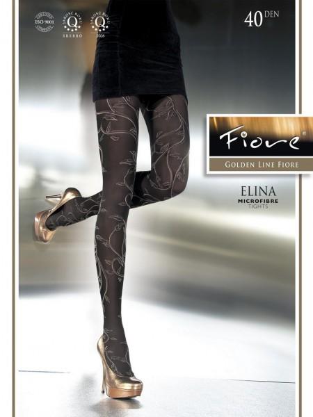Fiore Damenstrumpfhose mit floralem Muster Elina 40 DEN