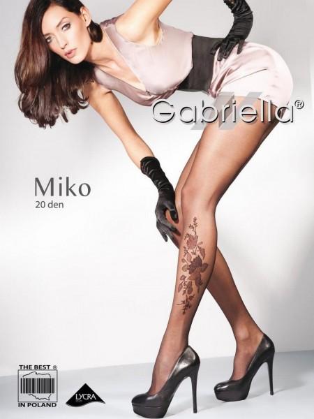 Gabriella Feinstrumpfhose mit Blumenmuster Miko 20 DEN