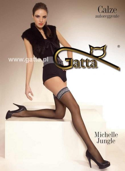 Gatta Verfuehrerische halterlose Struempfe mit Schlangenmuster Michelle Jungle