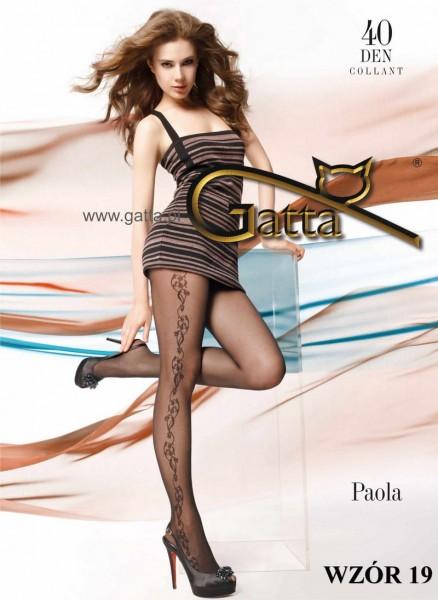 Gatta Elegante Strumpfhose mit Blumenrankenmuster Paola 19, 40 DEN