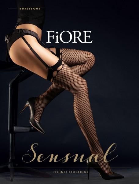 Fiore Burlesque - Sinnliche Netz-Strapsstrümpfe mit raffiniertem Abschluss