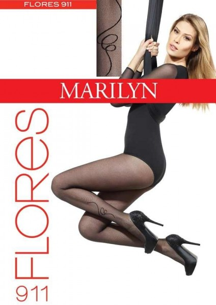 Marilyn Elegante Damenstrumpfhose mit dezentem Muster Flores, 20 DEN
