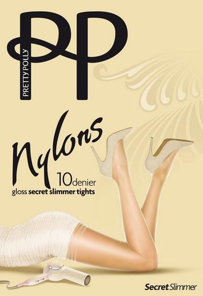 Pretty Polly Glaenzende, dezent figurformende Feinstrumpfhose Secret Slimmer 10 DEN