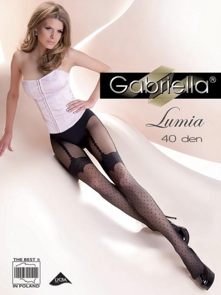 Gabriella Elegante Strumpfhose in verfuehrerischer Strapsoptik mit Punktmuster Lumia