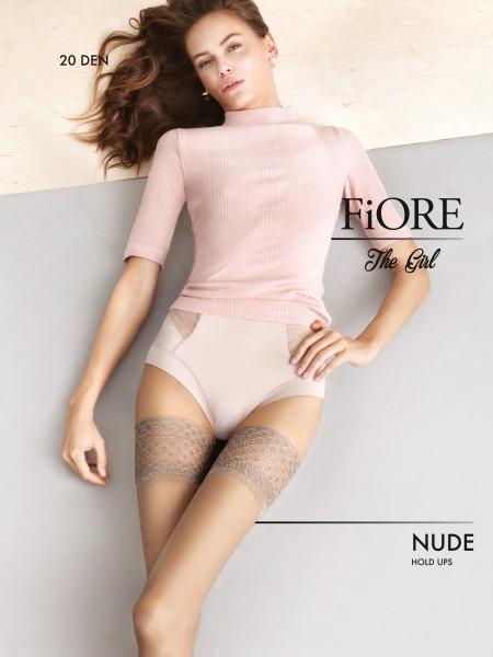 Fiore Nude - Elegante halterlose Strümpfe mit raffiniertem Spitzenabschlussband